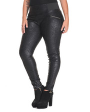 Bottoms - Cracked Coated Zip Trim Skinny Stretch Pant (Plus)