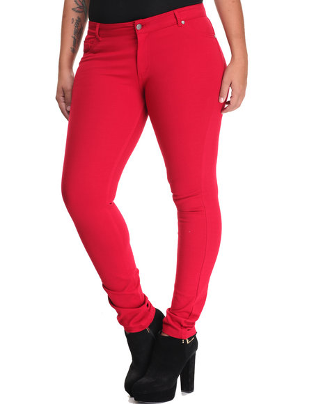 Shinestar - Women Red Ponte 5 Pocket Skinny Pant (Plus)
