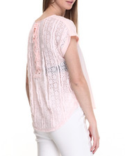 Short-Sleeve - Lace-Up Back Woven Hi-Low Hem Top
