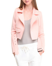 Light Jackets - Cropped Scuba Moto Jacket