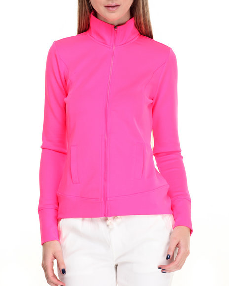 Shinestar Women Zip Front Scuba Active Jacket Pink Medium