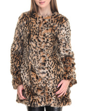 Outerwear - Leopard Heavy Faux Fur Coat
