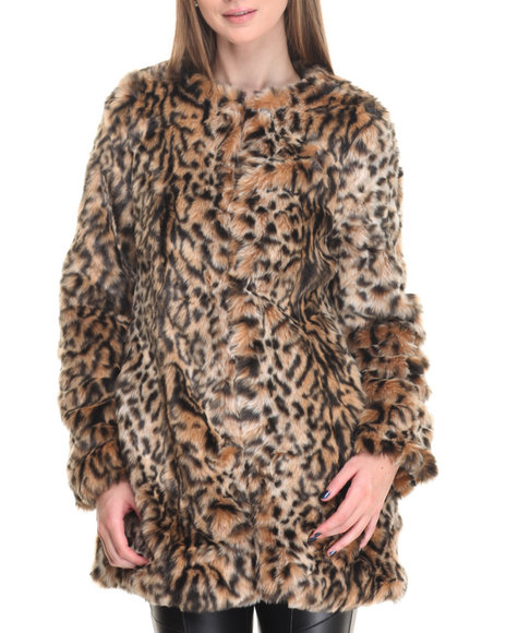 Steve Madden Women Leopard Heavy Faux Fur Coat Animal Print X-Small