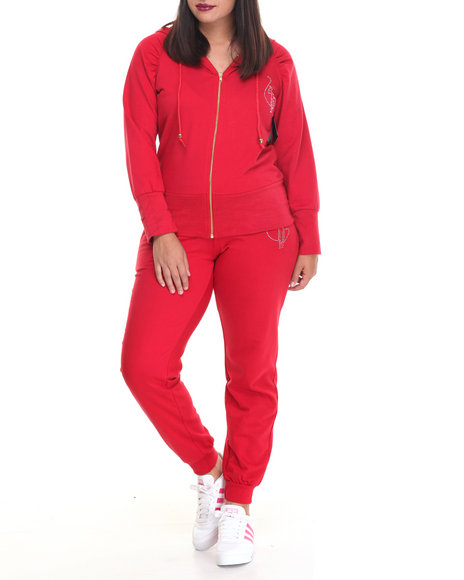 Baby Phat - Women Red French Terry Fitted Logo Active Set (Plus)