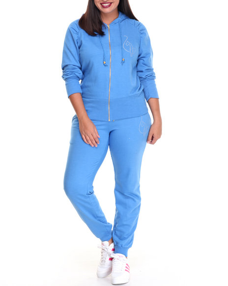 Baby Phat - Women Blue French Terry Fitted Logo Active Set (Plus)