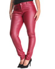 Bottoms - Vegan Leather Fleece Lined Skinny Pant (Plus)