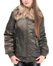 Steve Madden - Poly Light Weight Bomber Jacket w/faux fur collar