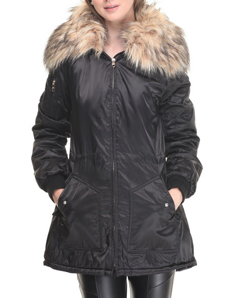 Steve Madden Women Light Weight Snorkal Parka Satin Coat W/ Faux Fur Black Large
