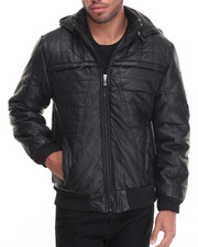 Leather Jackets - Barrier Structured Lined Faux Leather Jacket