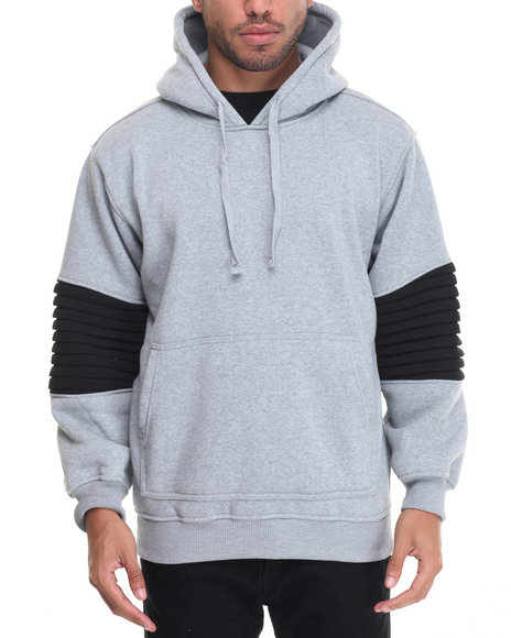 Basic Essentials - Men Grey Ribbed Side - Zip Fleece Hoodie