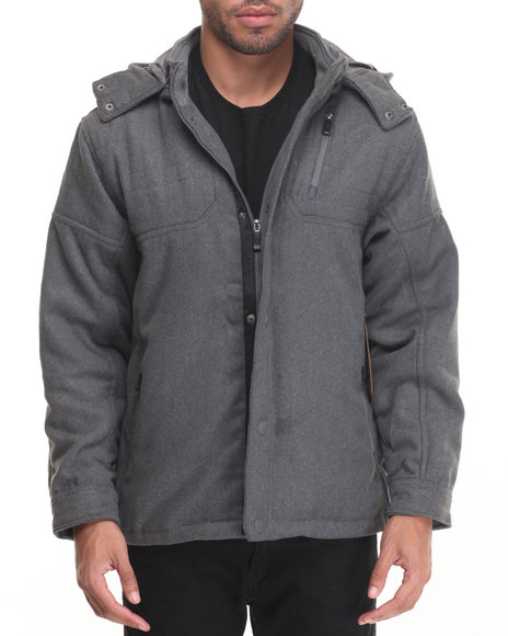 Buyers Picks - Men Charcoal Biker Shop Wool Moto - Style Jacket