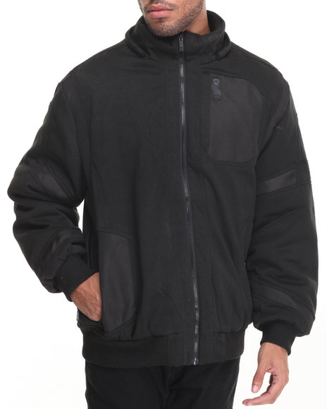 Buyers Picks - Men Black Distance Ballistic Nylon - Trimmed Lined Fleece Jacket