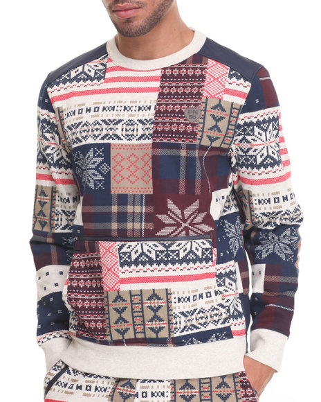 Parish - Men Cream,Navy Patchwork Sweatshirt