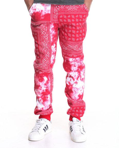 Basic Essentials - Men Red Bandana / Tie - Dye Fleece Joggers
