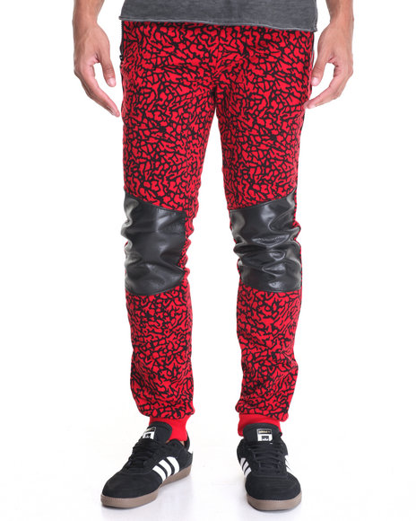 Basic Essentials - Men Red Elephant - Print Fleece Joggers