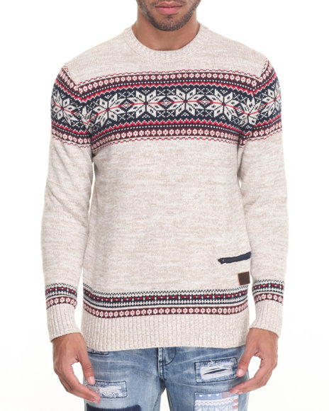 Parish - Men Khaki Snowflake Sweater