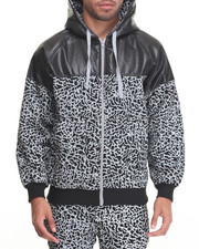 Hoodies - Elephant - Print Fleece Zip - Up Hoodie
