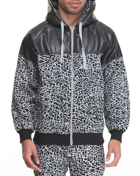 Basic Essentials - Men Black Elephant - Print Fleece Zip - Up Hoodie