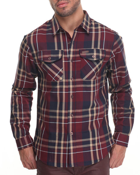 Parish - Men Khaki L/S Plaid Button-Down