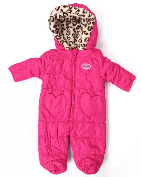 Steve Madden - Girls Pink Quilted Pram W/ Leopard Trim (Newborn)