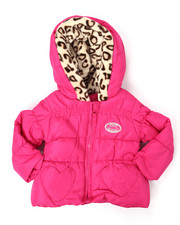 Heavy Coats - QUILTED JACKET W/ LEOPARD TRIM (INFANT)