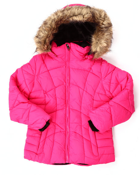 Steve Madden - Girls Pink Quilted Bubble Jacket (7-16)