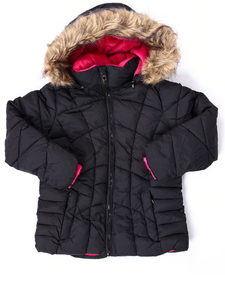 Steve Madden - Girls Black Quilted Bubble Jacket (7-16)
