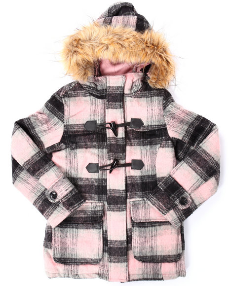 Steve Madden - Girls Black,Pink Hooded Toggle Plaid Wool Coat (7-16)