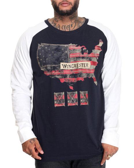 Winchester - Men Navy Americana Print Raglan (B&T)