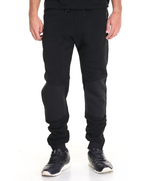 Basic Essentials - Men Black Quilted Fleece Joggers