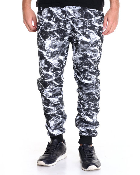 Basic Essentials - Men Black Marble - Print Fleece Joggers