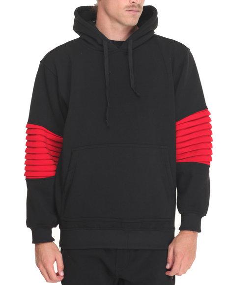 Basic Essentials - Men Black Ribbed Side - Zip Fleece Hoodie