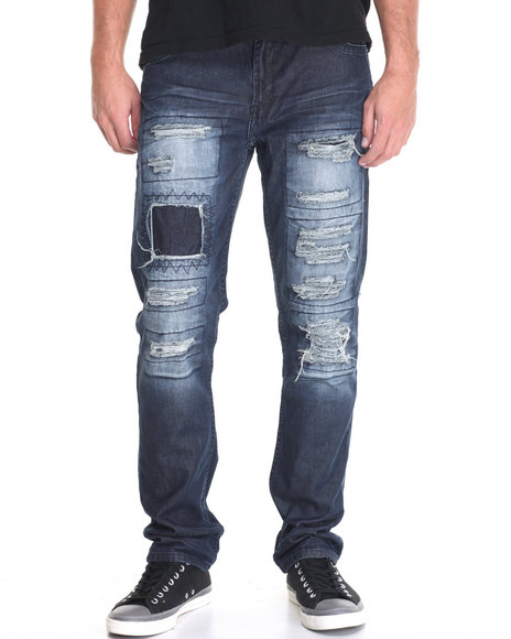 Parish - Men Dark Wash Ripped Vintage Jean