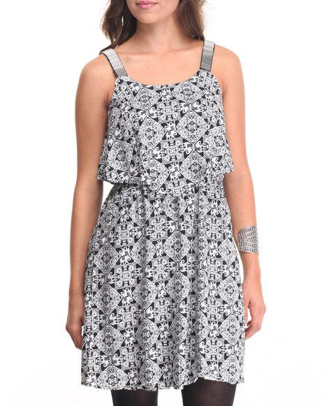Fashion Lab - Women Black Dickie Elephant Print Dress