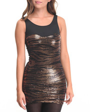 Fashion Lab - Shra Animal Print Sequin Dress