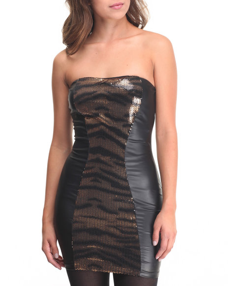 Basic Essentials Women Animal Print Vegan Leather Dress W Zipper Black Small