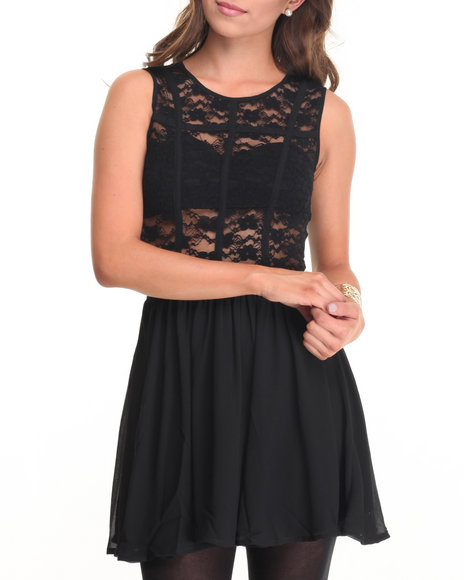 Fashion Lab - Women Black Floral Detail Back Dress