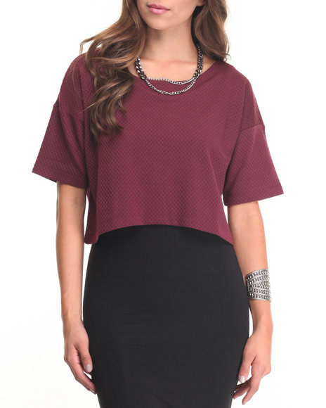 Fashion Lab - Women Dark Red 2-Fer Midi Dress - $12.99