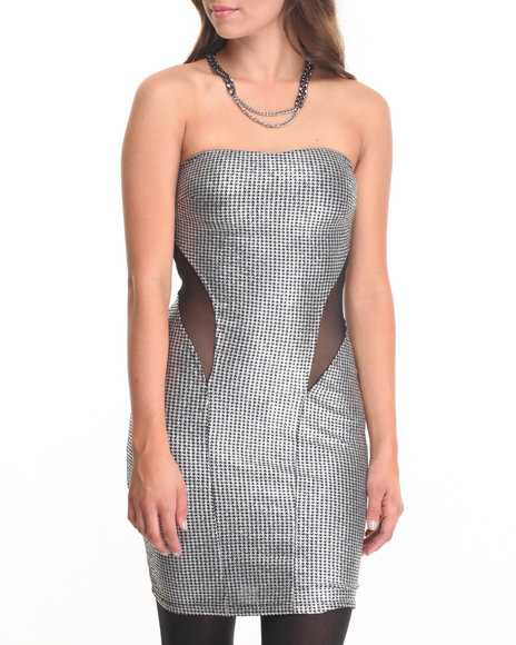 Fashion Lab - Women Silver Silver Empress Tube Top Dress