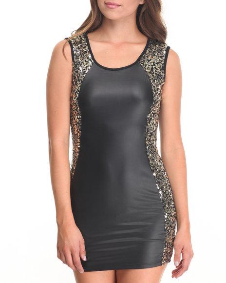 Fashion Lab - Women Black Mina Sequin Detail Bodycon Dress