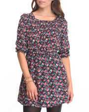 Women - Floral Print Chiffon Dress