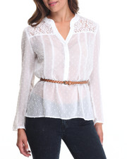 Women - Chiffon Dot Detail Top