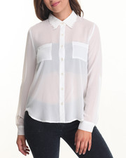 Fashion Lab - Floral Collar Detail Chiffon Top