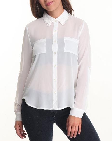 Fashion Lab - Women White Floral Collar Detail Chiffon Top - $7.99