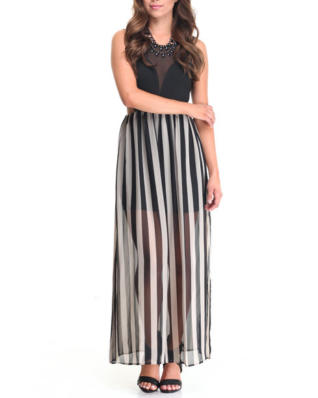 Fashion Lab - Women Black Side Cutout Stripe Dress