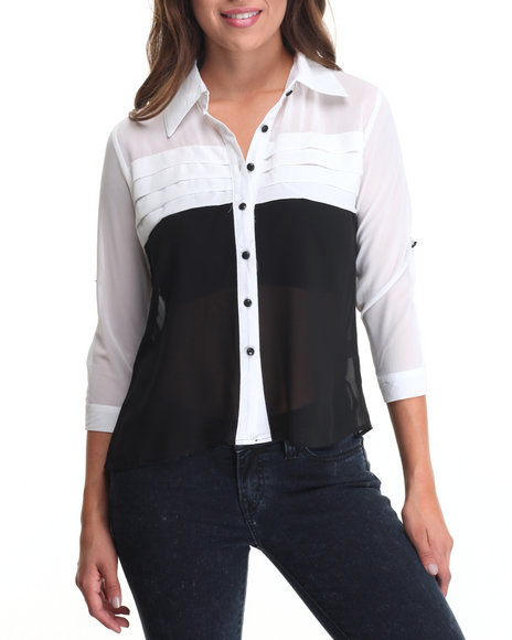 Fashion Lab - Women Black,White Color Block Chiffon Top