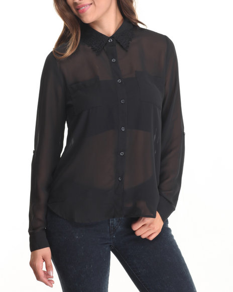 Fashion Lab - Women Black Floral Collar Detail Chiffon Top