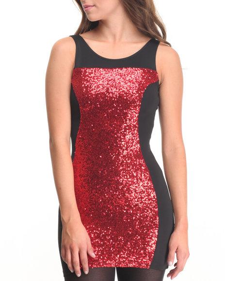 Fashion Lab - Women Red Tina Sequin Detail Dress