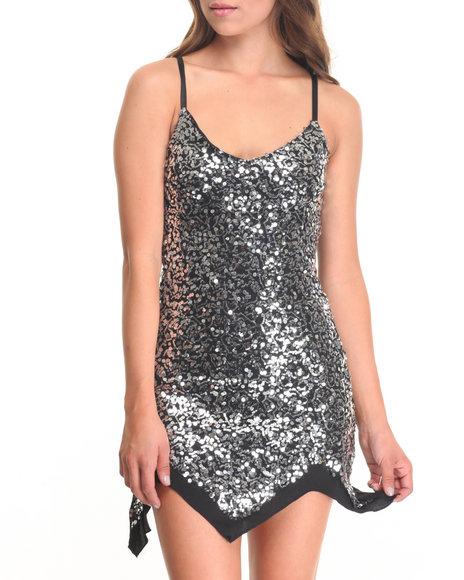 Fashion Lab - Women Silver Jolie Strap Bodycon Sequin Dress