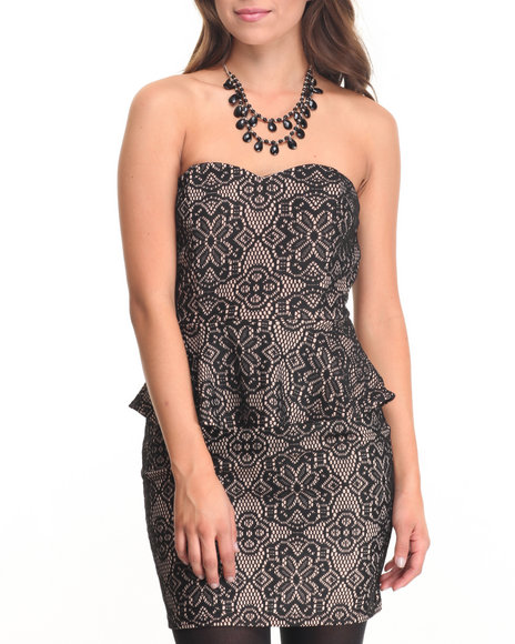 Basic Essentials - Women Black Lace Mini Dress - $11.99